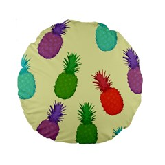 Colorful Pineapples Wallpaper Background Standard 15  Premium Round Cushions