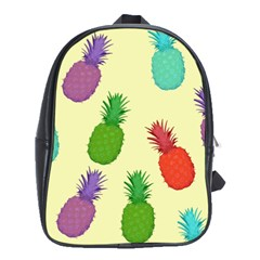 Colorful Pineapples Wallpaper Background School Bags (XL)
