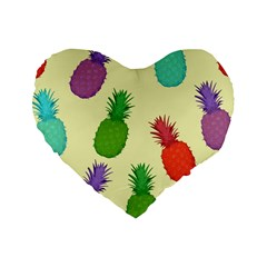 Colorful Pineapples Wallpaper Background Standard 16  Premium Heart Shape Cushions