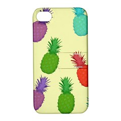 Colorful Pineapples Wallpaper Background Apple iPhone 4/4S Hardshell Case with Stand