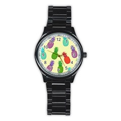 Colorful Pineapples Wallpaper Background Stainless Steel Round Watch