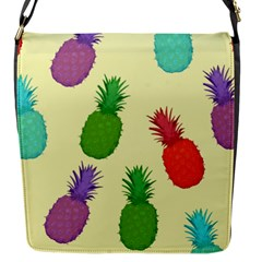 Colorful Pineapples Wallpaper Background Flap Messenger Bag (S)