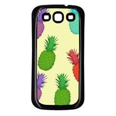 Colorful Pineapples Wallpaper Background Samsung Galaxy S3 Back Case (Black)