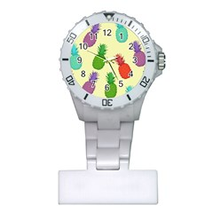 Colorful Pineapples Wallpaper Background Plastic Nurses Watch