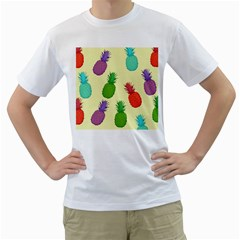 Colorful Pineapples Wallpaper Background Men s T-Shirt (White)