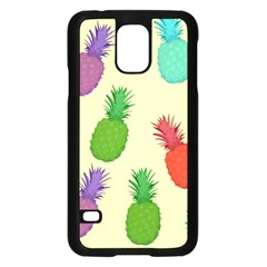 Colorful Pineapples Wallpaper Background Samsung Galaxy S5 Case (Black)