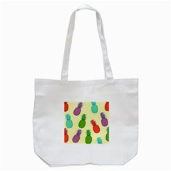 Colorful Pineapples Wallpaper Background Tote Bag (white)