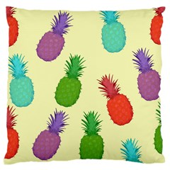 Colorful Pineapples Wallpaper Background Large Flano Cushion Case (two Sides)