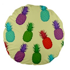 Colorful Pineapples Wallpaper Background Large 18  Premium Flano Round Cushions