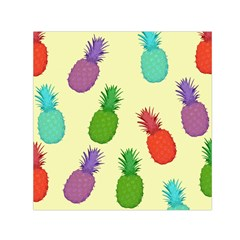 Colorful Pineapples Wallpaper Background Small Satin Scarf (Square)