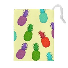 Colorful Pineapples Wallpaper Background Drawstring Pouches (Extra Large)