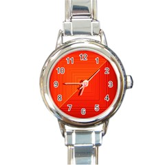 Abstract Clutter Baffled Field Round Italian Charm Watch
