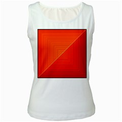Abstract Clutter Baffled Field Women s White Tank Top
