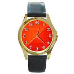 Abstract Clutter Baffled Field Round Gold Metal Watch