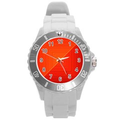 Abstract Clutter Baffled Field Round Plastic Sport Watch (L)