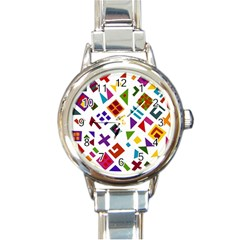 A Colorful Modern Illustration For Lovers Round Italian Charm Watch
