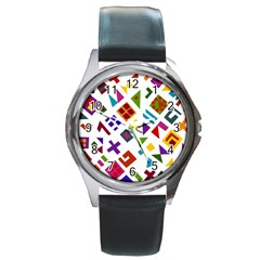 A Colorful Modern Illustration For Lovers Round Metal Watch