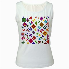 A Colorful Modern Illustration For Lovers Women s White Tank Top