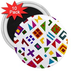 A Colorful Modern Illustration For Lovers 3  Magnets (10 pack)