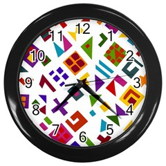 A Colorful Modern Illustration For Lovers Wall Clocks (Black)
