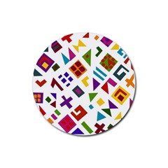 A Colorful Modern Illustration For Lovers Rubber Coaster (round)