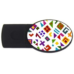 A Colorful Modern Illustration For Lovers USB Flash Drive Oval (1 GB)