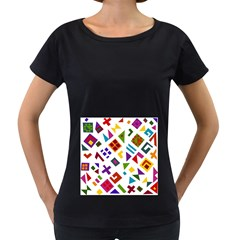 A Colorful Modern Illustration For Lovers Women s Loose-Fit T-Shirt (Black)