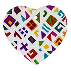 A Colorful Modern Illustration For Lovers Heart Ornament (two Sides)