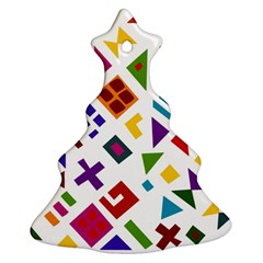 A Colorful Modern Illustration For Lovers Christmas Tree Ornament (two Sides)
