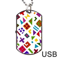 A Colorful Modern Illustration For Lovers Dog Tag Usb Flash (two Sides)