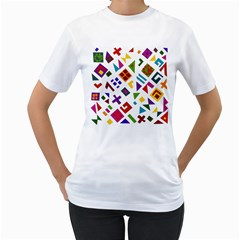 A Colorful Modern Illustration For Lovers Women s T-Shirt (White)