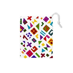 A Colorful Modern Illustration For Lovers Drawstring Pouches (small)