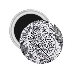 Black Abstract Floral Background 2 25  Magnets