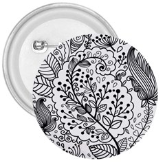 Black Abstract Floral Background 3  Buttons