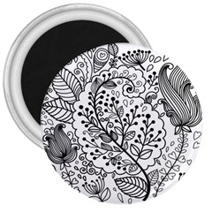 Black Abstract Floral Background 3  Magnets