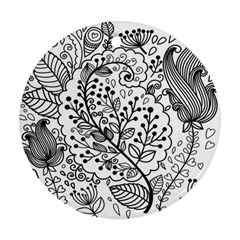 Black Abstract Floral Background Ornament (Round)