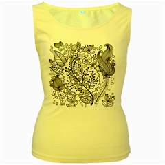 Black Abstract Floral Background Women s Yellow Tank Top