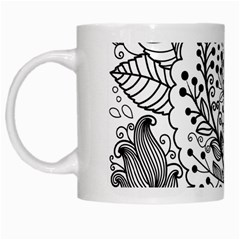 Black Abstract Floral Background White Mugs