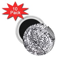 Black Abstract Floral Background 1 75  Magnets (10 Pack)