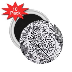 Black Abstract Floral Background 2.25  Magnets (10 pack)