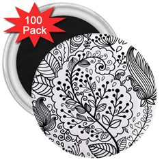 Black Abstract Floral Background 3  Magnets (100 Pack)