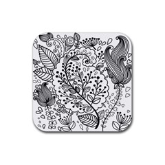 Black Abstract Floral Background Rubber Coaster (square)
