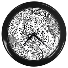 Black Abstract Floral Background Wall Clocks (black)