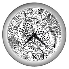 Black Abstract Floral Background Wall Clocks (Silver)