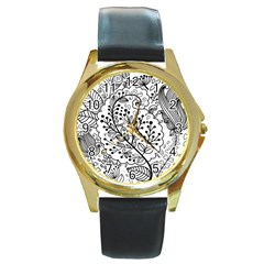 Black Abstract Floral Background Round Gold Metal Watch