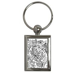Black Abstract Floral Background Key Chains (Rectangle)