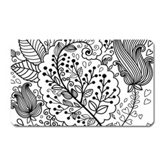 Black Abstract Floral Background Magnet (Rectangular)