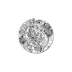 Black Abstract Floral Background Golf Ball Marker (10 Pack)