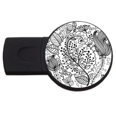 Black Abstract Floral Background USB Flash Drive Round (1 GB)