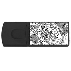 Black Abstract Floral Background USB Flash Drive Rectangular (1 GB)